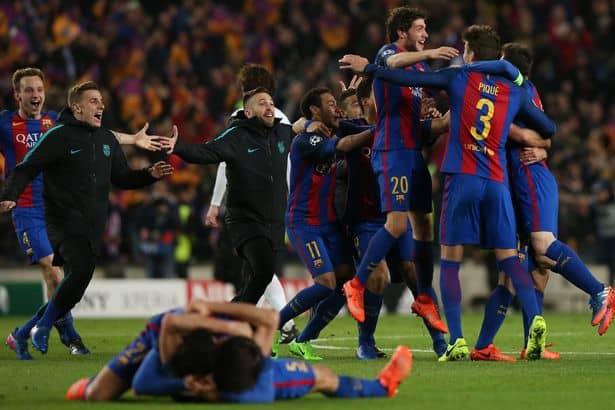 Barcelona Soccer Team Cheering After Huge Comeback